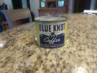 Vintage Blue Knot Coffee Tin - with twisted key intact