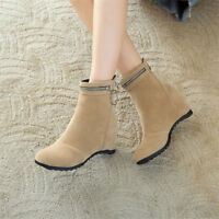 Womens Hidden Wedge Heel Suede Ankle Boots Plus Size Shoes Round Toe Booties