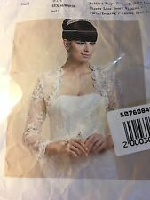 Wedding Wraps Long Sleeve Lace White New In Package With Rhinestones Size 16