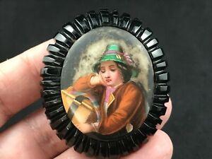 Antique Victorian carved Whitby Jet porcelain handpainted portrait brooch