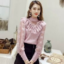 Ladies Stand Collar Lace Shirt Blouse VictorianRuffle Puff Sleeve Top Gothic Top