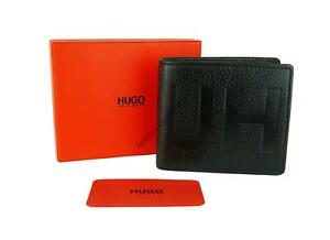 New Hugo Boss Bifold Leather Coin Wallet Black Credit Cards Boxed Victorian