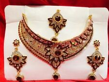 Bollywood Indian Bridal Necklace Earrings Tikka Jewellery Gold White Brown N14