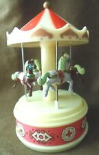 THE CAROUSEL  MUSIC BOX w/ moving HORSES~VTG ENESCO 1980~DRAWER FOR JEWELRY