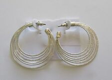 Fashion Earrings- hoops- silver color -six thin strands- post back