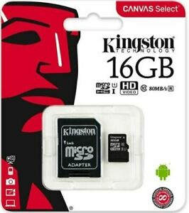 Kingston Micro   USB   16 GB SD Flash Memory Card SDC4 HC SDHC Class 10