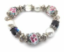 Stretch Bracelet Silver Plated Imitation White Pearl Crystal Gl Flower Bead