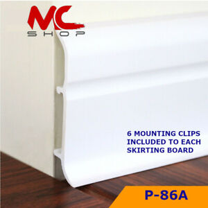 WHITE PVC PLASTIC 2.45m SKIRTING BOARD & ACCESSORIES 86mm Height Flexible edges