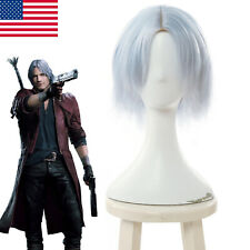 Devil May Cry 5 Dante Cosplay Wig Short Straight Sliver Gray Hair Wigs Cap 30cm