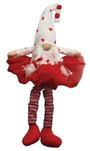 """Girl Gnome T3930 Tutu Cute Valentine Hearts Wood Nose White Braids 17"""" H"""