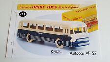 Dinky Toys Atlas - Fascicule SEUL de l'Autocar Chausson AP 52 (Booklet only)
