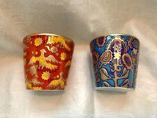 HERMES PORCELAIN TUMBLERS (2) GOLD LEAF BALLET RUSSE Theme Design NEW
