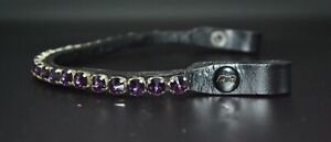 12mm CRYSTAL 1 ROW BLING DIAMANTE BROWBAND DRESSAGE FULL COB PONY PURPLE COLOR