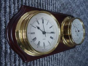Vintage Quartz Metamec Brass Ships / Boat Clock, Barometer.