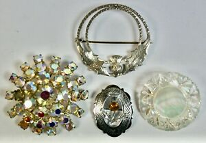 Job Lot Of 4 Vintage Brooches, Silver, Mizpah, Mother Of Pearl, Aurora Borealis