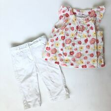 Janie & Jack 2t Girls Outfit Coral Yellow White Floral Swiss Dot Top Pants Set