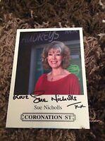 SUE NICHOLLS (CORONATION STREET) SIGNED CAST CARD