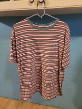 Vintage Lost Surfboards Striped T-Shirt Size Large Surf Embroidered Mens Shirt