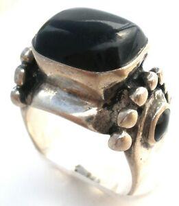 Vintage Ring Size 6 with Faux Black Onyx GemStone Jewelry Hallmarked 925 Unisex