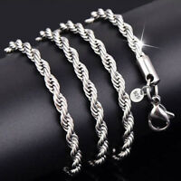 925Sterling Silver Plated Rope Chain Twist Necklace Wedding Jewelry Unisex 2-4mm