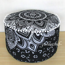 "Large Black Silver Indian Pouf Cover Cotton Multi Color Seating 22"" Ottoman Pouf"