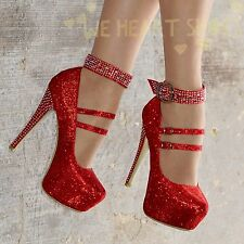 Ladies Diamante Stiletto Shoes Evening High Heels Ankle strap size UK 3-9 30334