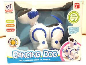 Electronic Robot Interactive Dog Puppy Walk Bump Go Lights Music Tail Swing Blue