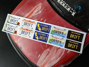 1/10 RC Drift California License / Number Plate Stickers, Decal Sheet For Body