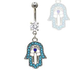 "BLUE BEADED HAMSA AMULET BELLY RING SPIRITUAL NAVEL PIERCING JEWELRY (14g 3/8"")"