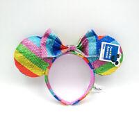 Disney Park Mickey Minnie Mouse Ears Rainbow Bow Sequins Party Cos Headband