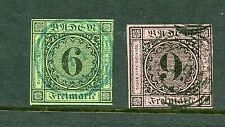 Germany #3 & #4 (Ge143) Numerals unwatermarkd imperforated, U, Fvf, Cv$71.00