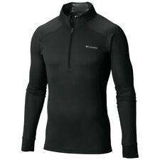 New $70 Columbia mens Omni Heat Heavyweight 1/2 zip base layer top shirt Black