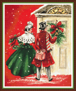 """'BRINGING GIFTS' Cross Stitch PATTERN 13""""x16"""" Detailed/Christmas/Xmas/Victorian"""
