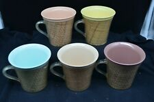 5 Retro Raffia Burlap Melamine Mugs-Pastel Colors-Melanine-Yellow/Blue/Peach+