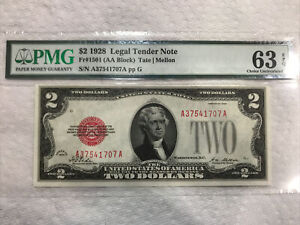 $2 1928 Legal Tender PMG 63 EPQ 1501 Choice Uncirculated UNC Red Seal