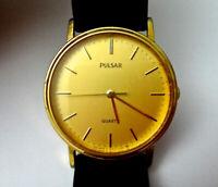 Pulsar Quartz Watch 057286 Gold Dial Brown Leather Strap - Unisex - Working Cond