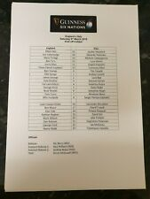 2019 England Vs Italy Team Sheet: Six Nations: Rugby Union