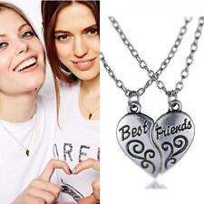 "Silver Love Heart Fashion Pendant Chains Friendship Necklace ""Best Friend"""