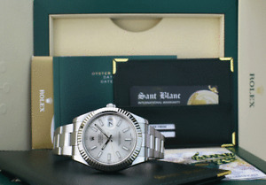 ROLEX 41mm White Gold & Stainless DateJust II Silver Index 116334 SANT BLANC