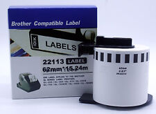 62mm x15.24m 2-3/7'' Continues Roll Clear Label For DK-22113 Brother QL QL-570