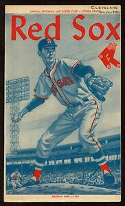 1960  BOSTON RED SOX vs CLEVELAND INDIANS  2 ND GAME  baseball program 7 /24