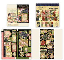 """Graphic 45 Floral Shoppe 8"""" Paper Ephemera Cards Tags & Pockets Chipboard SET"""
