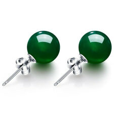 925 solid Silver Genuine 8mm Natural Green Jadeite Jade Stud Earrings A