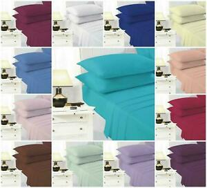 Extra Deep 40cm Fitted Sheet 100% Cotton Combed Bed Sheets For Bedroom All Sizes