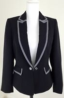 Tahari ASL~Women's Size 6~Black Open-Front Blazer Career Office Ware Jacket.