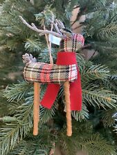 Pottery Barn Red Plaid Reindeer Ornament Christmas Tree Small New