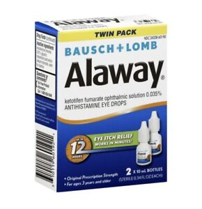 Bausch & Lomb Alaway Eye Itch Relief Drops TWIN PACK Exp:2022!