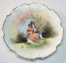 Antique Lazeyras Rosenfeld Lehman LRL Limoges Hand Painted Charger Plate Couple