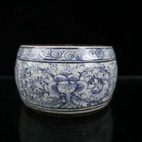 "6.3"" Chinese Blue-and-white Porcelain Hand Painted Flowers and Plants Inkslab"
