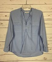Madewell Women's S Small Blue Cotton Long Sleeve Cute Tie Fall Top Shirt Blouse
